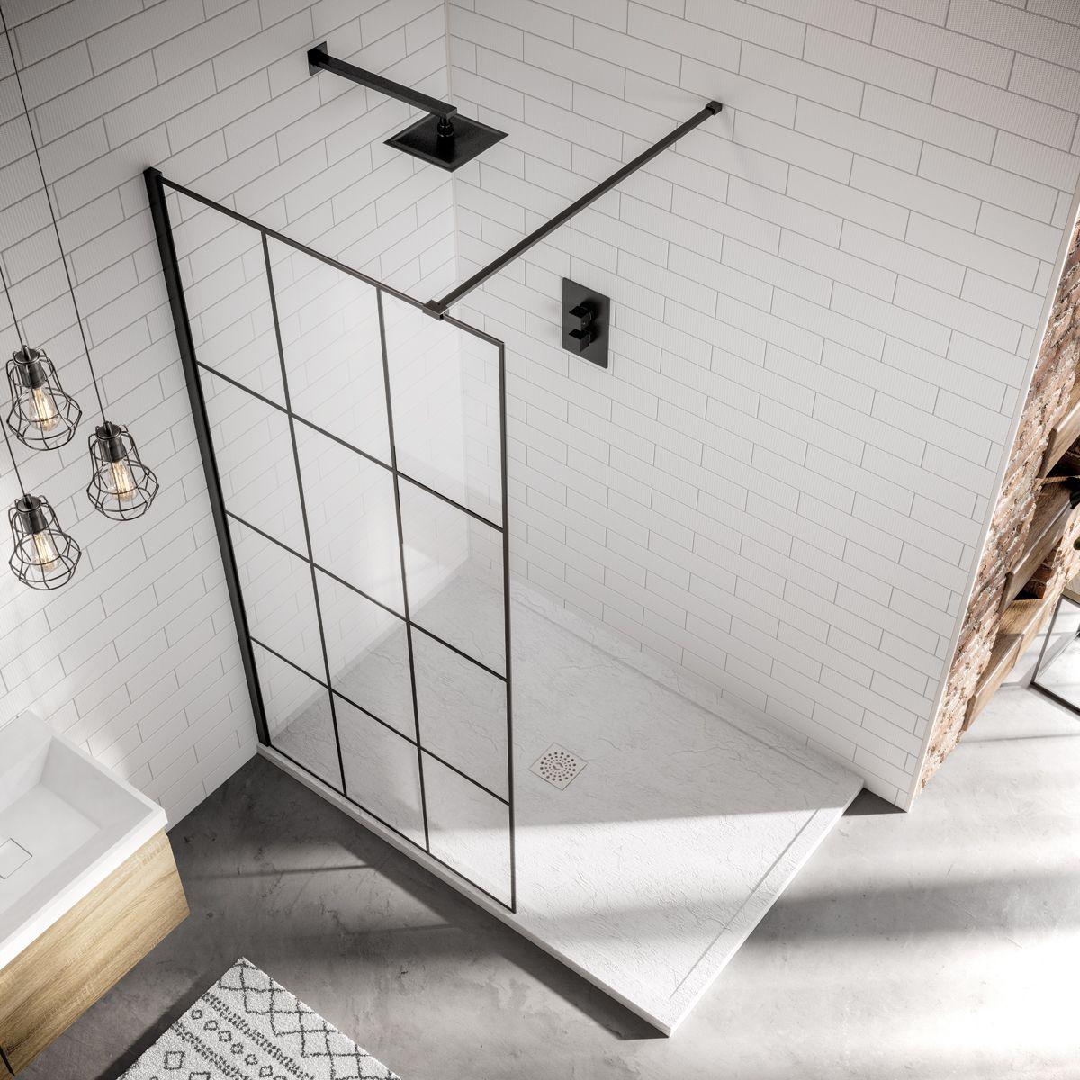 April Identiti black frame shower screen from above