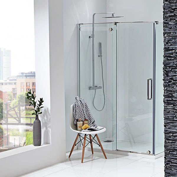 Aquaglass sliding door with cutout glass