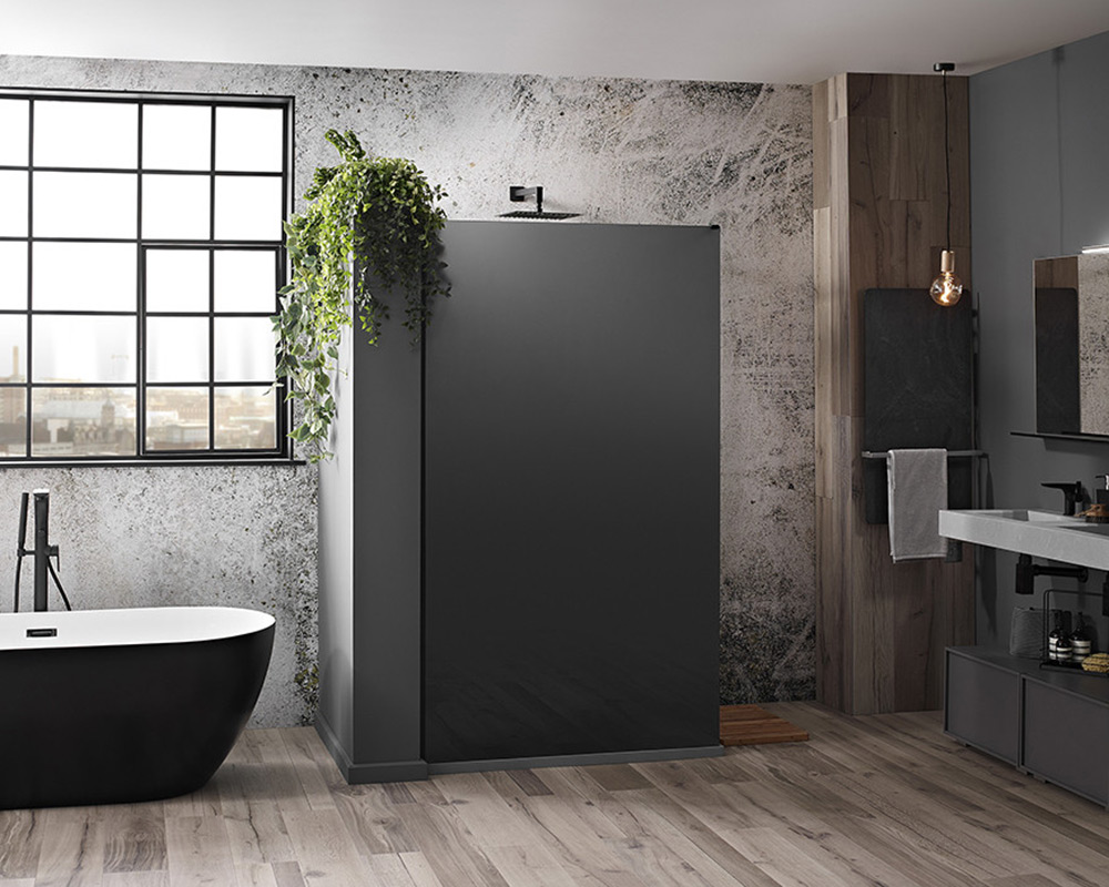 Aquaglass Mono Black Frosted Glass Walk-In Shower
