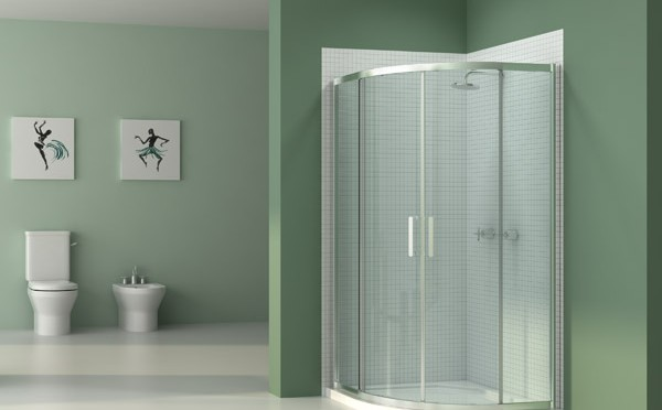 Merlyn Vivid 6 quadrant shower enclosure in green bathroom