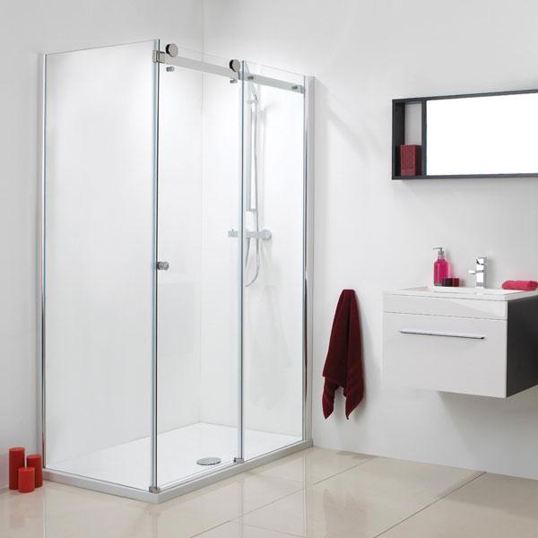 Phoenix Motion Frameless Shower Doors in a bathroom