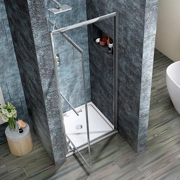 Scudo Infolding Shower Door shown with door open