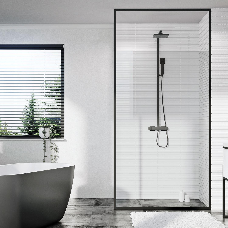 Shield Mono Floor To Ceiling Black Shower Screen