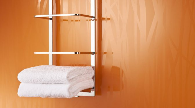 Showerwall bathroom wall panels in clementine