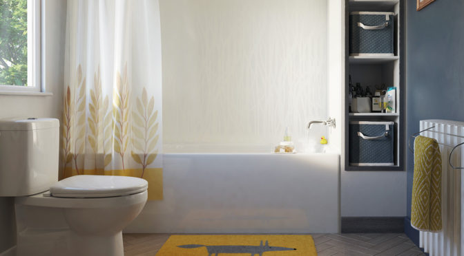 Snow White Whispering Grass SHowerwall over a bath side