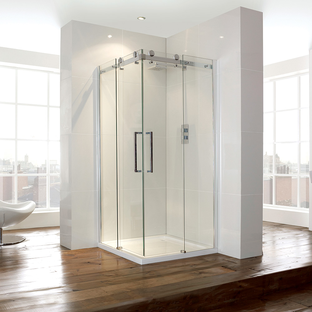 Aquaglass 900mm Corner Entry Shower Cubicle Sliding Doors