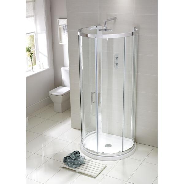 Aquaglass Single Wall D Shaped Quadrant Shower Enclosure