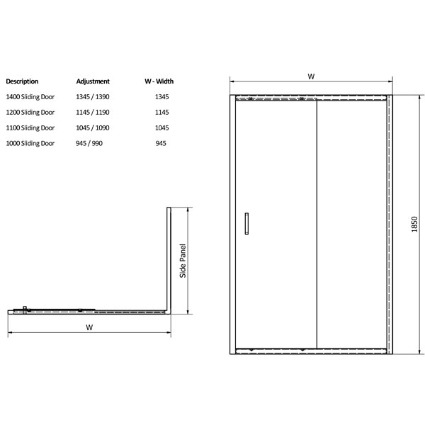 Cheapest 6mm Sliding Shower Door In 7 Sizes By Aquatech