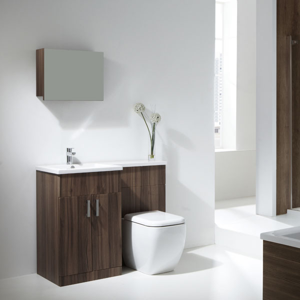Aquatrend Pee Walnut Finish Furniture Pack With Metro Btw Wc Lh Shown Wall Unit