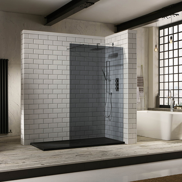 Aquaglass 10mm Tinted Black Glass Walk In Shower
