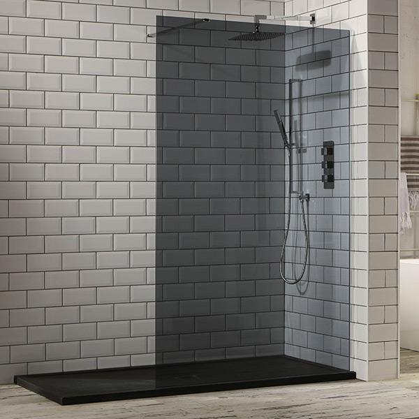 Aquaglass 10mm Tinted Black Glass Walk In Shower