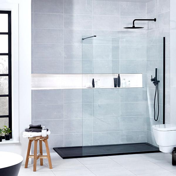 Aquaglass Onyx Black Profiled Walk In 10mm Shower Screens