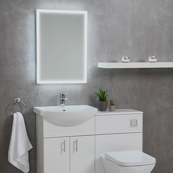Shield Mosca Illuminated Mirror With Shaver Socket And Demister Pad 3 Sizes