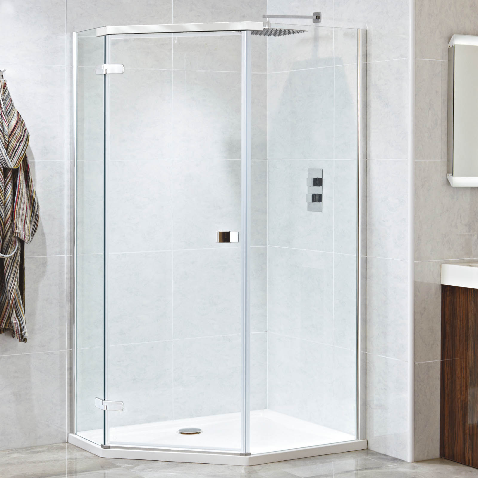 Phoenix Low Pro Offset Pentangle Shower Tray