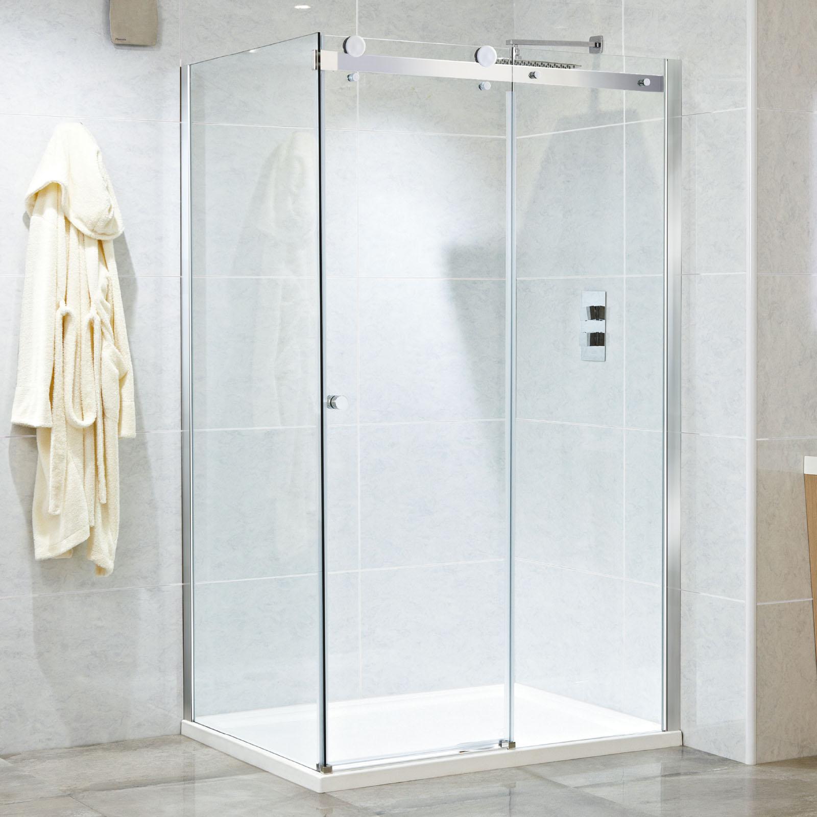 Phoenix 1000 1400mm Motion Frameless Single Sliding Shower Door
