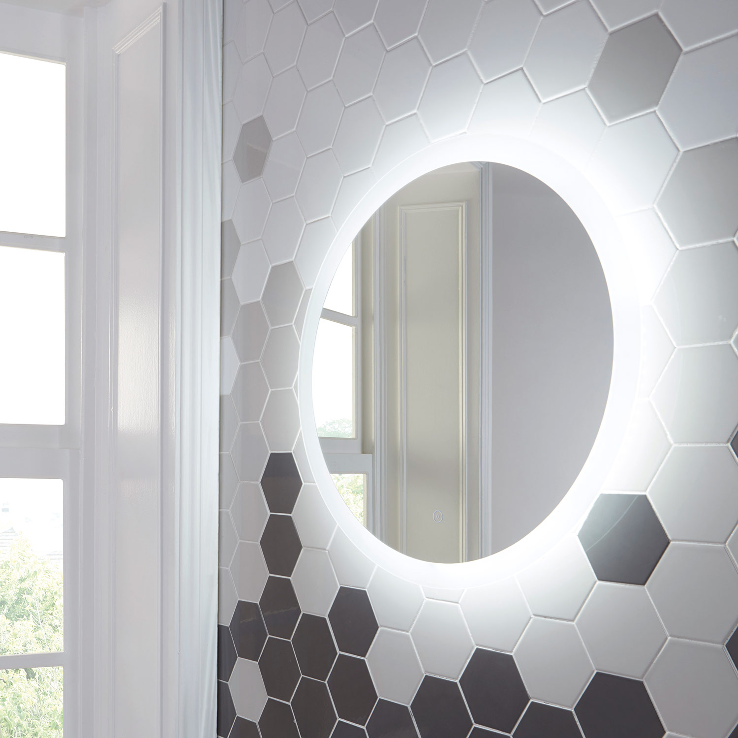 Shield Lunar Large Round Bathroom Mirror With Lights 600 Or 800mm