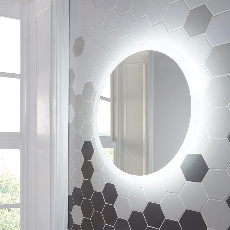 shield lunar large round bathroom mirror with lights 600. Black Bedroom Furniture Sets. Home Design Ideas