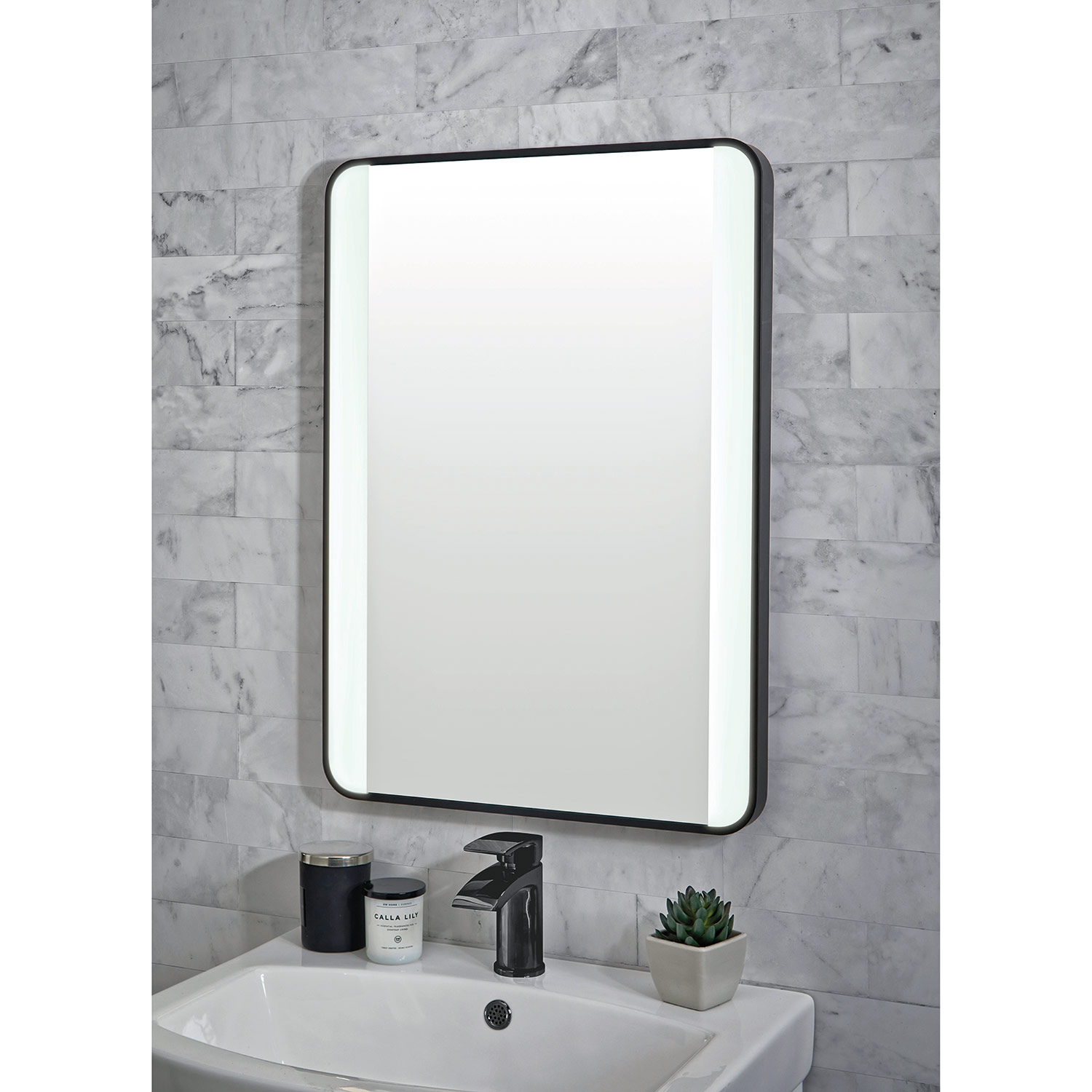 Shield Mono Black Framed Bathroom Mirror with LED Lighting