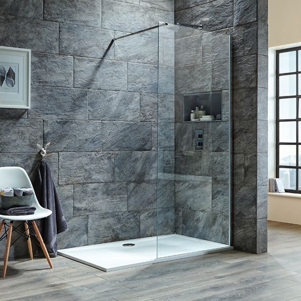Shield 8mm easy clean wetroom screens optional flipper panel - How much does it cost to gut a bathroom ...