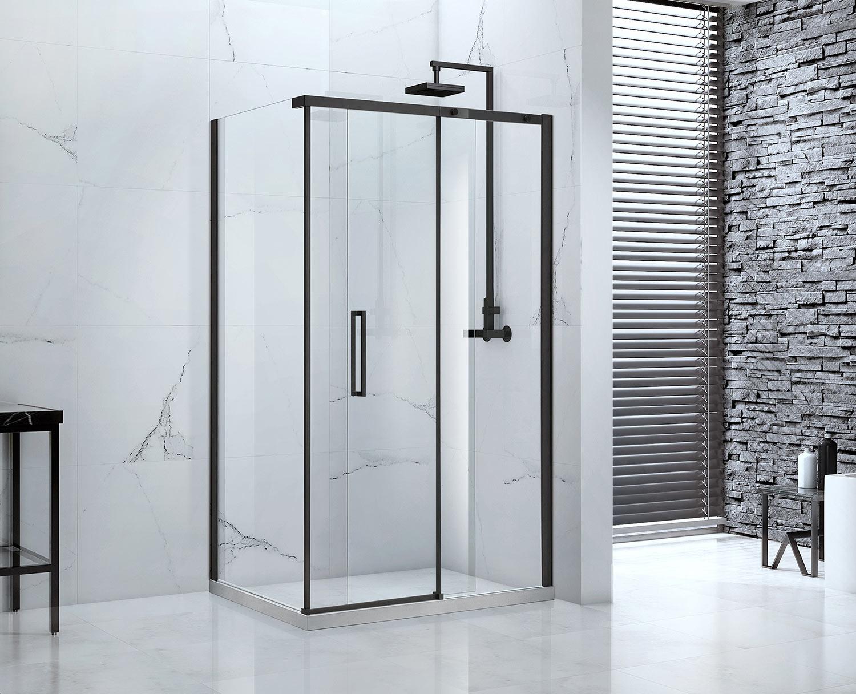 Aquaglass Onyx Black Frame Sliding Shower Door And Panel