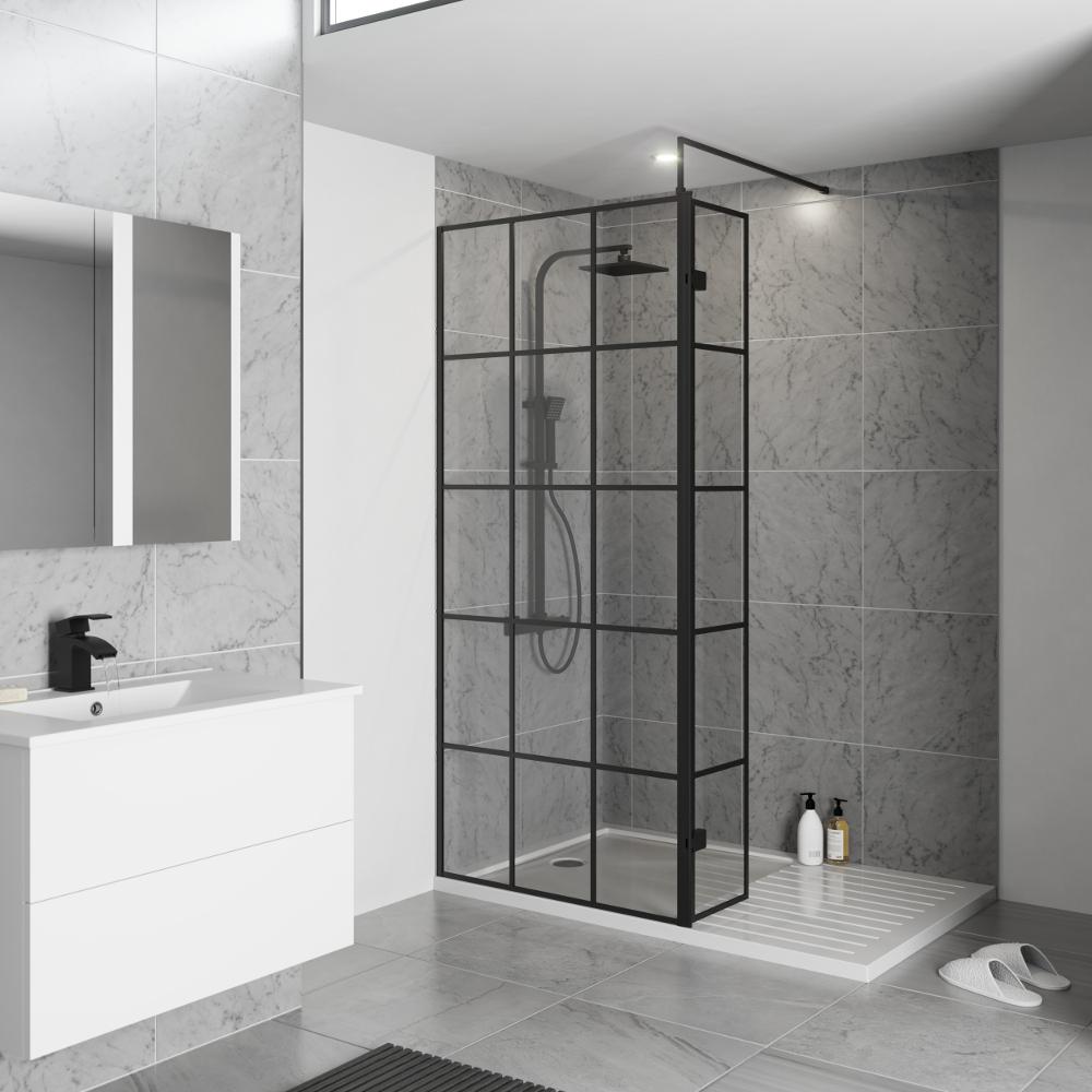 Kartell Krittal Black Frame Shower Screen