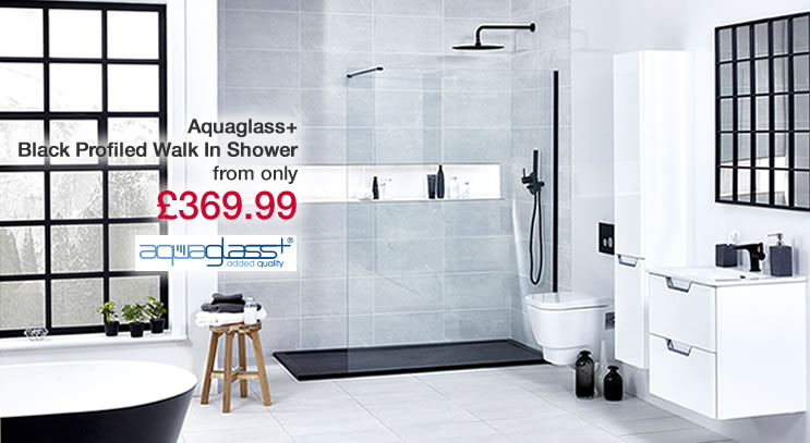 Aquaglass Black Profiled Walk In Shower
