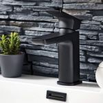 Shield mono black basin mixer tap with stone wall background