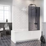 Scudo Mono S6 smoked glass hinged bath screen