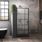 Aquaglass Velar Crittall Style Corner Entry Shower
