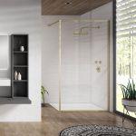Aquaglass Velar+ Brushed Brass Window Frame Walk In Shower