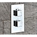 Shield Square Concealed Shower Valve with Diverter Control Two Shower Accessories