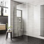 Essential wetroom shower screen with bracing bar