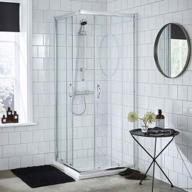 Corner entry shower door