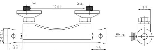 Ultra Modern Thermostatic Shower Bar Valve - Technical Drawing