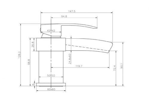 Phoenix Single Lever Mono Basin Waterfall Tap - Technical Drawing