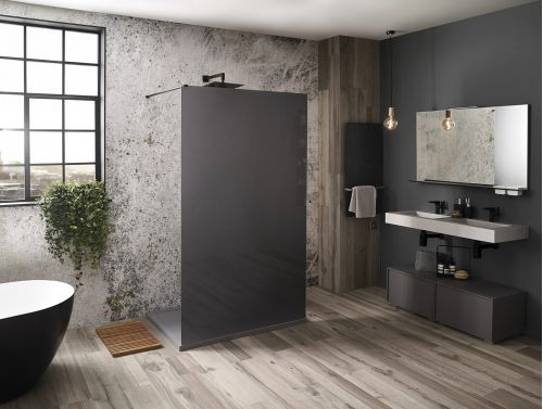 Aquaglass Mono Black Frosted shown in dual access single wall configuration