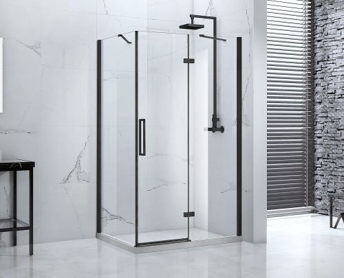 Onyx frameless hinged shower door with inline panel and side panel