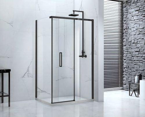 Aquaglass Onyx black frame sliding shower door