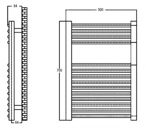 500 x 700mm Chrome Curved Ladder Heated Towel Rail - Technical Line Drawing