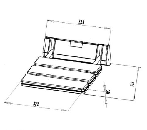 Phoenix SS002 shower seat technical drawing