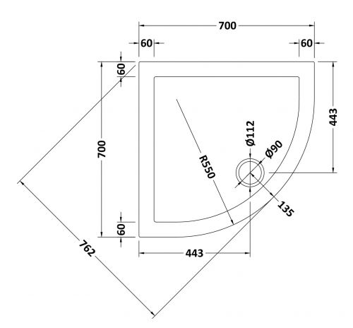 700mm Quadrant tray