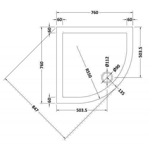 760mm Quadrant tray