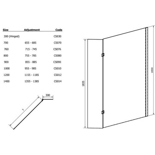 Aquatech 8mm Wet Room Screen Technical Drawing