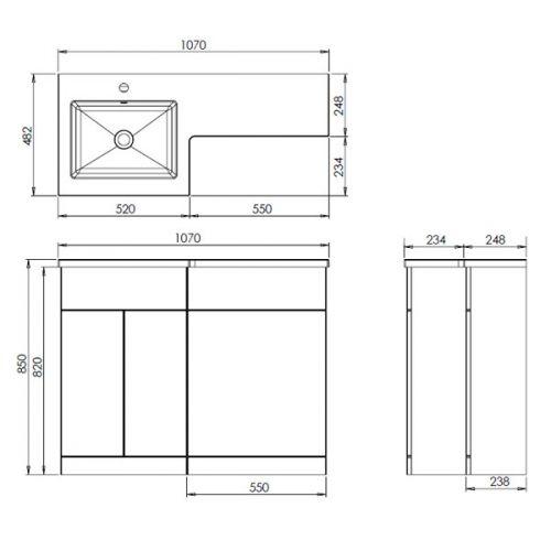 Aquatrend Petite Wall Unit Diagram