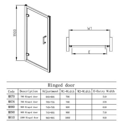 Apex EasyFit hinged shower door technical drawing for all sizes