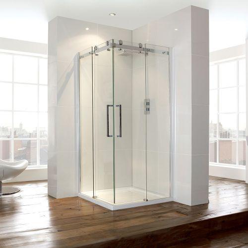 Aquaglass+ 900mm Corner Entry Shower Cubicle Sliding Doors