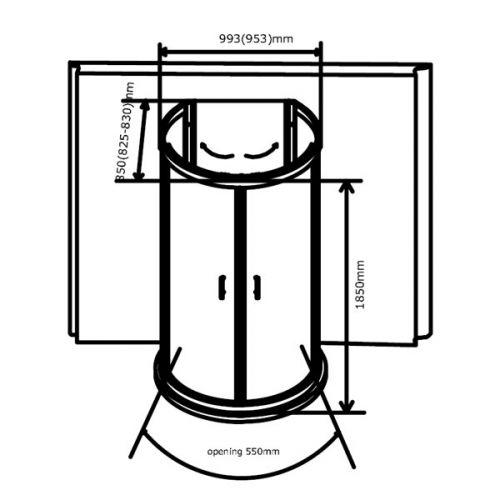 Aquaglass 993mm D Shaped Quadrant Opening Diagram