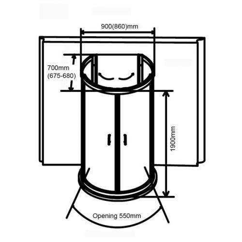 Aquaglass 900mm D Shaped Quadrant Opening Diagram