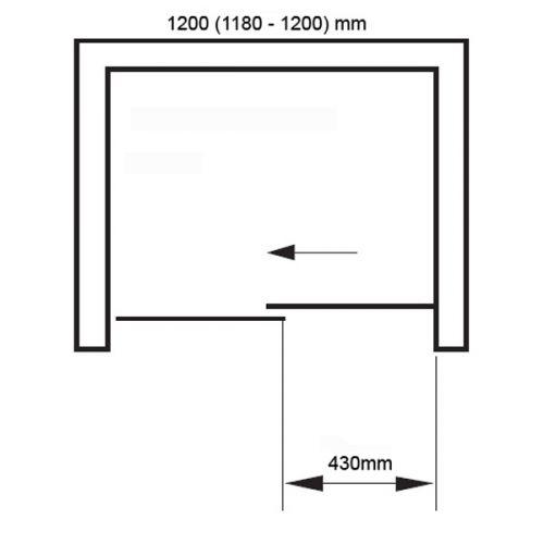 Aquaglass+ 1200mm Opening fittings Diagram