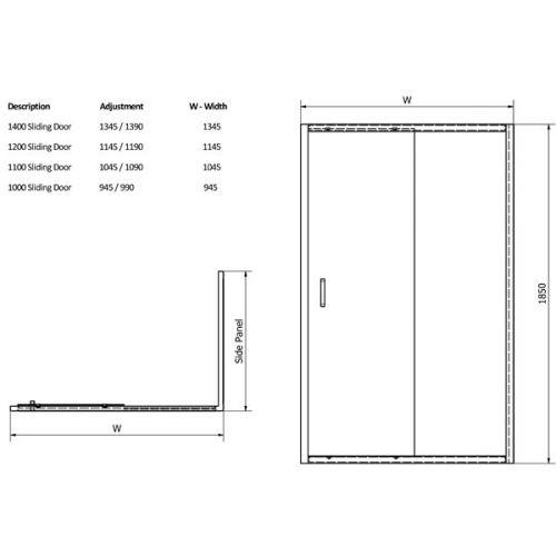 Aquatech Sliding Shower Door Technical Drawing